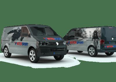 Mockup av foliering av bil for Intersport