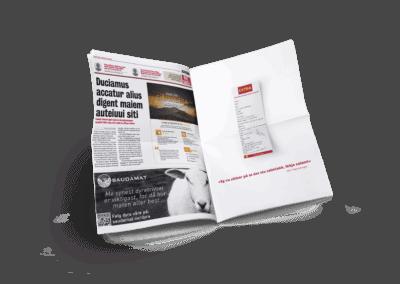 Mockup av avis med Saudamat og Coop extra reklame