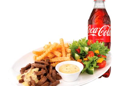 Biffsnadder med en Coca Cola